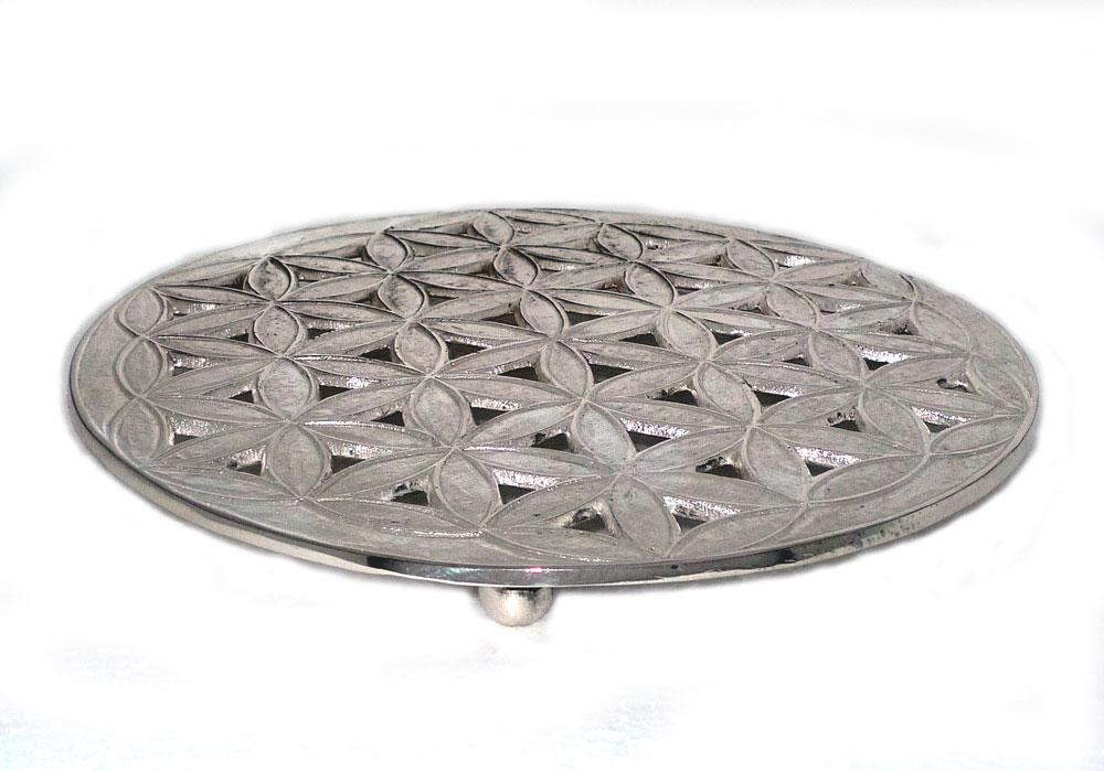 Dessous de plat g om trie fleur de vie en m tal argent - Dessous de plat en metal ...
