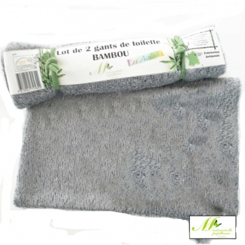 "Gants de toilette  Collection ""Les acidulés"" - Lot de 2 - gris -Bambou"