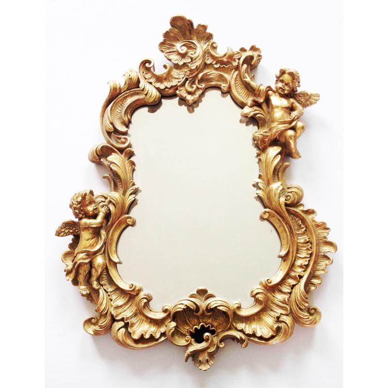 Miroir baroque italien doré avec angelots chérubins et volutes 51X39.5X5.5 cm