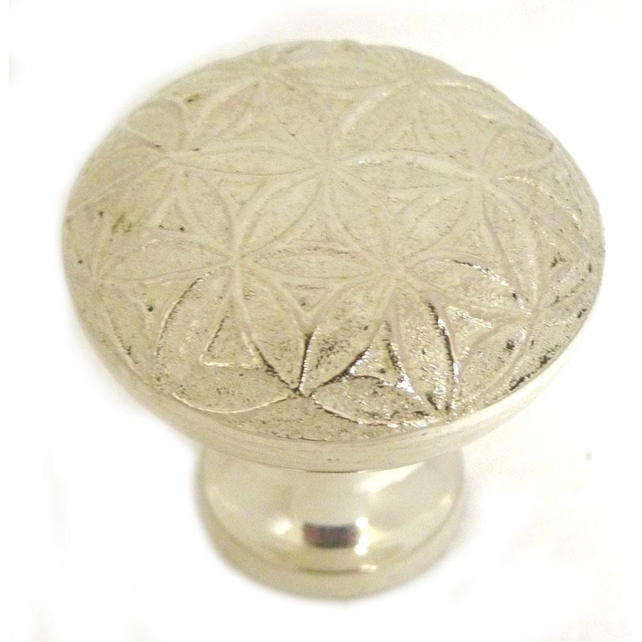 bouton de meuble g om trie fleur de vie en m tal atgent epns verniss d 3 cm sevellia. Black Bedroom Furniture Sets. Home Design Ideas