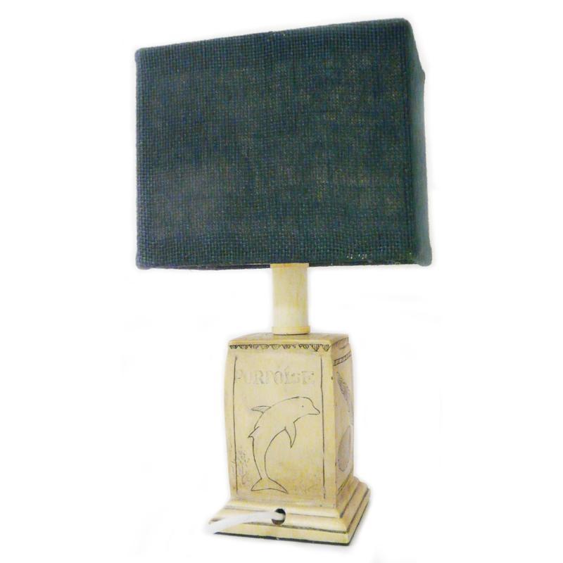 Lampe de chevet ambiance marine Dauphin, coquillage...Abat jour jute bleu. H29cm