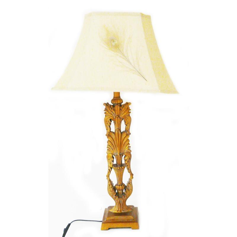 Lampe pied palmette cuivré Abat jour rectangulaire crème + plumes de paon H.83cm