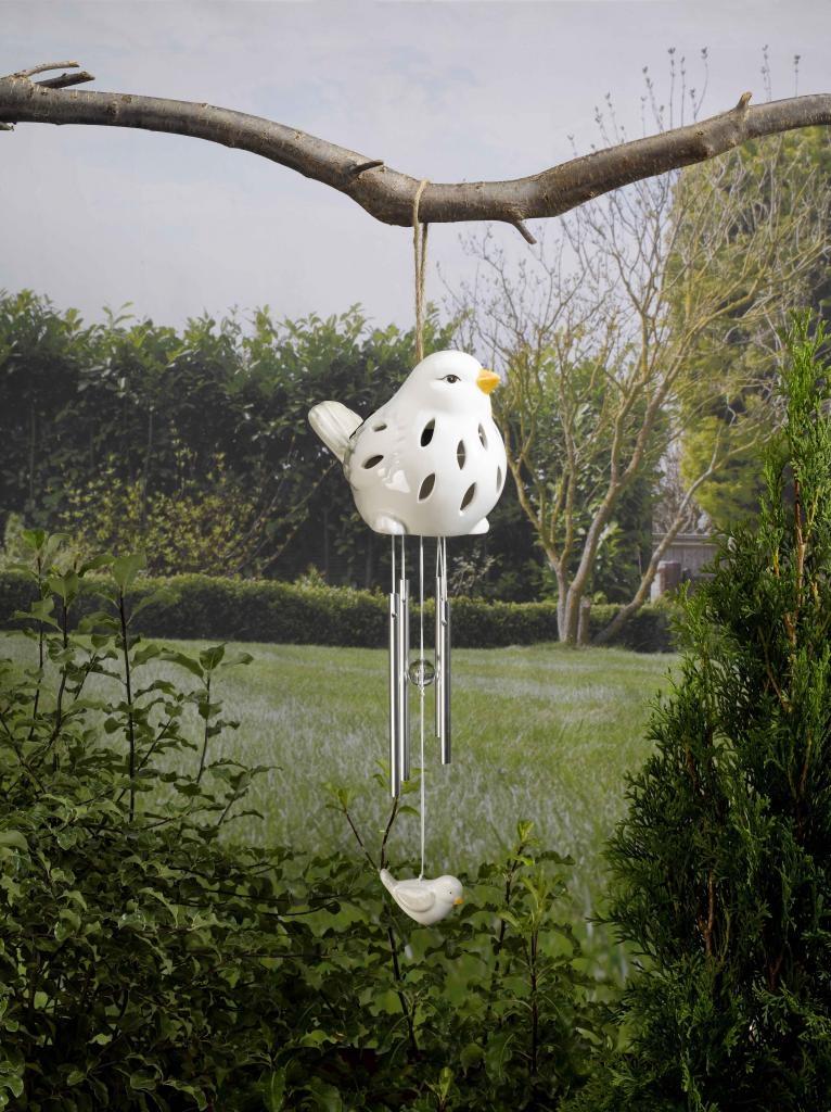 Carillon solaire en céramique blanc