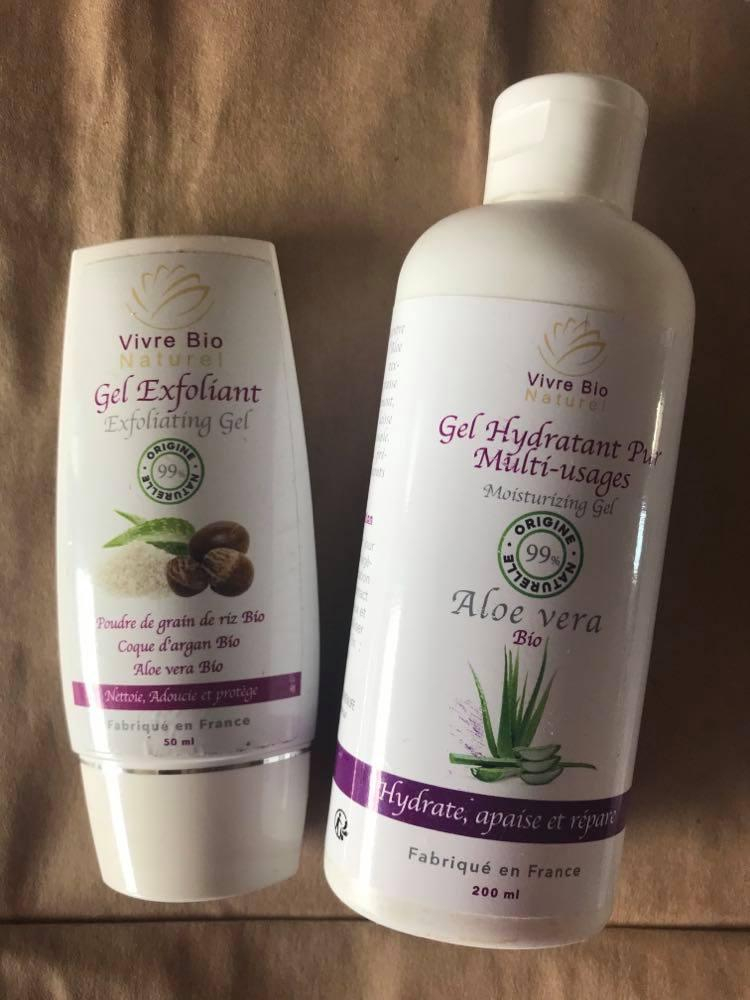 Duo Gel  Aloe Vera Bio ( gel gommant visage et gel multi usages )