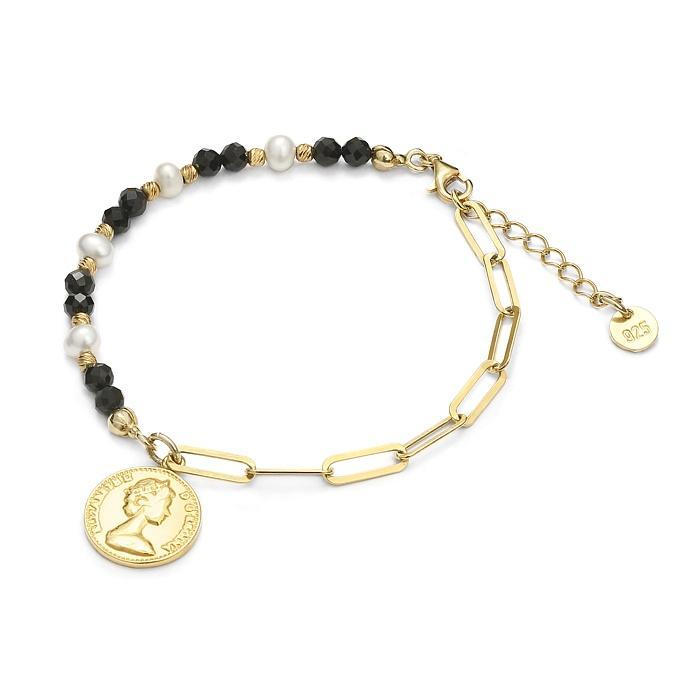 Bracelet tendance en spinelle noir et perles sur vermeil