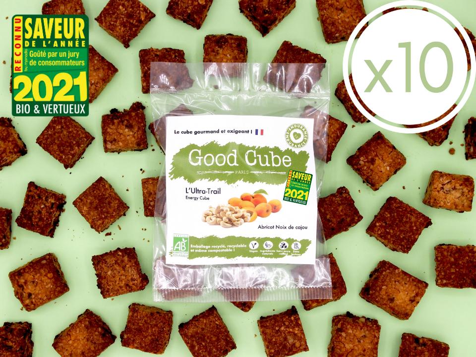 """x10 Biscuits gourmands aux abricots et noix de cajou """"L'Ultra-Trail"""" BIO - boost d'énergie - 10 35g"""