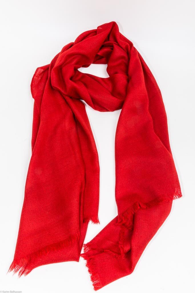 Echarpe Etole Cachemire Rouge Rubis / Collection Infinie Tendresse 2 FILS