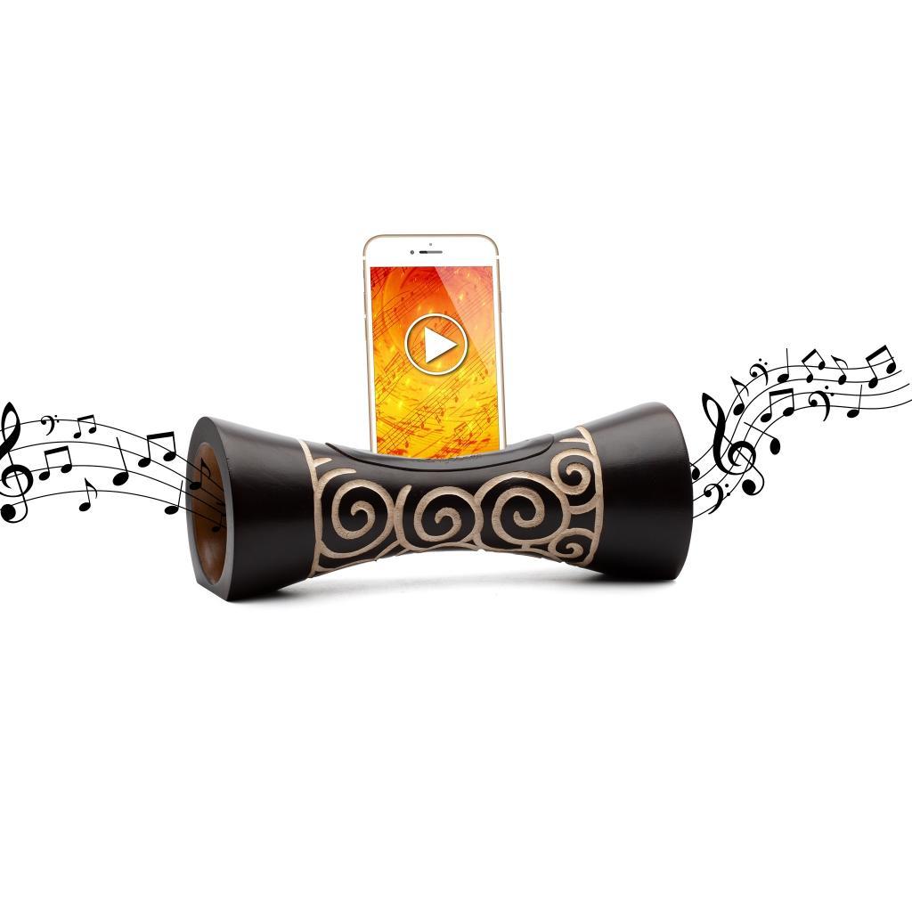 MANGOBEAT,Idee cadeau écologique,ENCEINTE sans BLUETOOTH en bois pour tous téléphones portables, Amplificateur de son naturel, station d'accueil Iphone