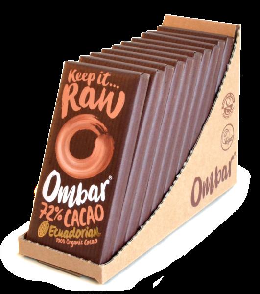 Lot de 9+1 Chocolats Crus 72% Cacao 35g Bio - Ombar