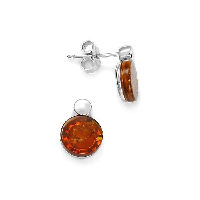 Boucles d'oreilles en ambre de la Baltique sur argent rhodié 925
