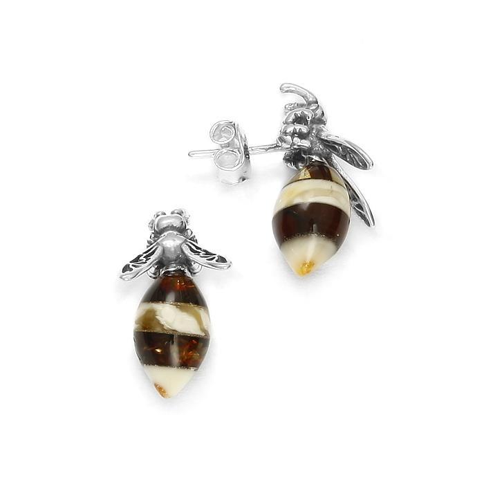 Boucles d'oreilles abeille en ambre de la baltique sur argent 925