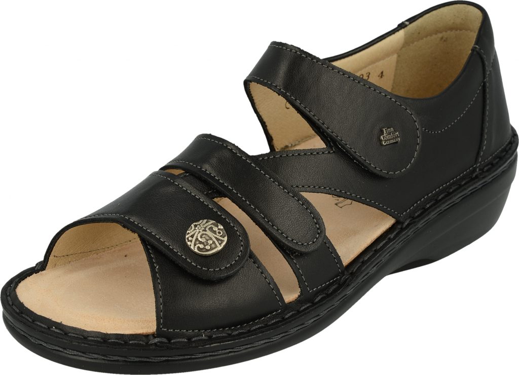 FINN COMFORT Sandale Classic-Soft Noir talon 25 mm chaussant large