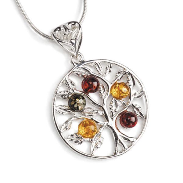Collier arbre de vie en ambre multicolore sur argent 925
