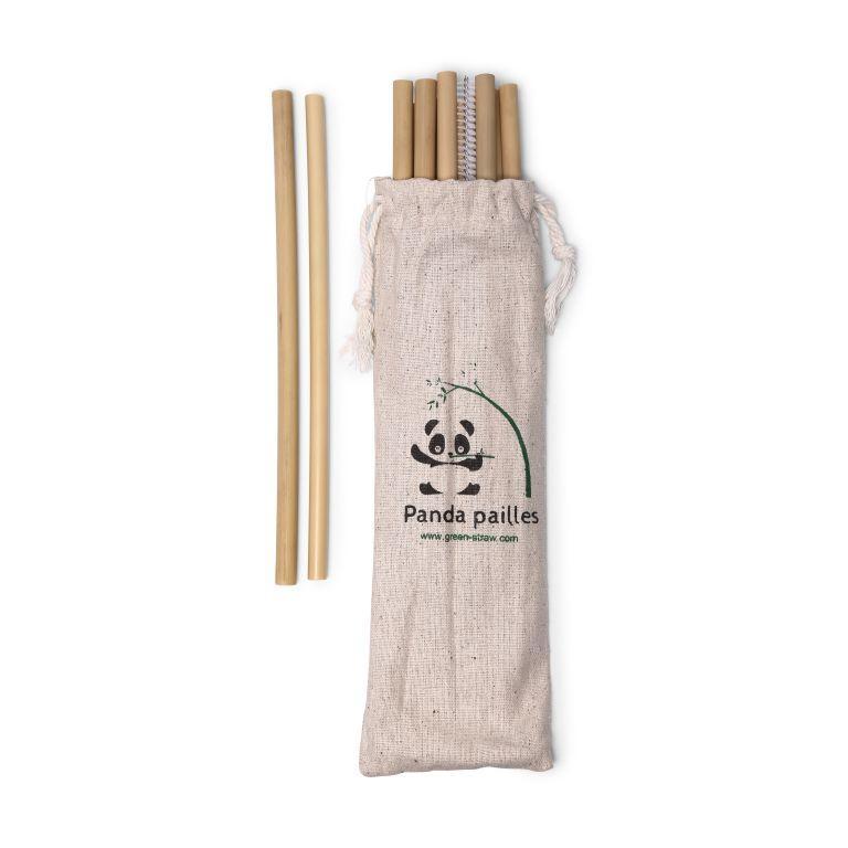 6 pailles en bambou avec brosse et pochon Panda Pailles