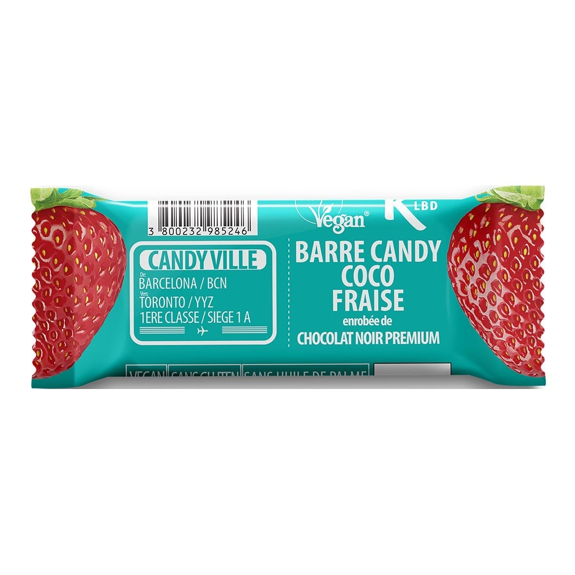 Barre Candy Coco Fraise 50g Bio - Candy Ville