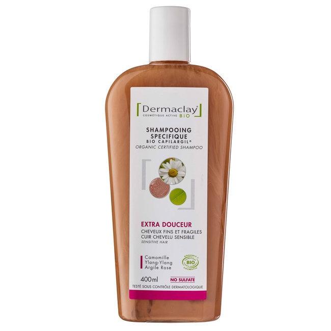 DERMACLAY - Shampoing Bio Capilargil Cheveux fragiles Argile rose 400ml