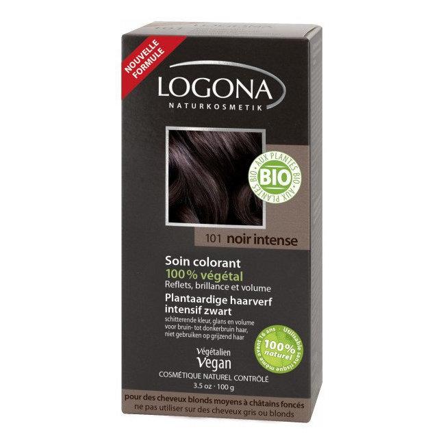 LOGONA - Noir intense - Soin colorant végétal - Reflets pour cheveux blonds à châtains 100g