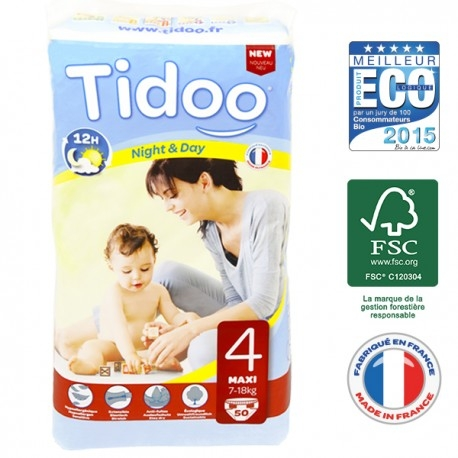 Couches Night & Day T4 7-18 kg - 50 couches - Tidoo