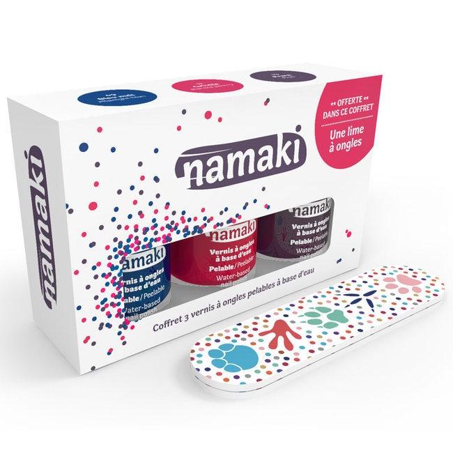 NAMAKI - Coffret 3 Vernis à ongles pour enfant - Griotte, Bleu nuit et Prune