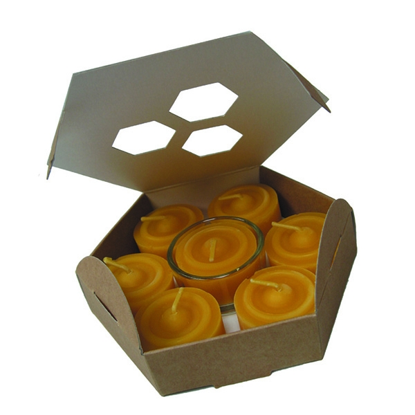 Boites de 7 bougies veilleuses en cire naturelle avec un support en verre