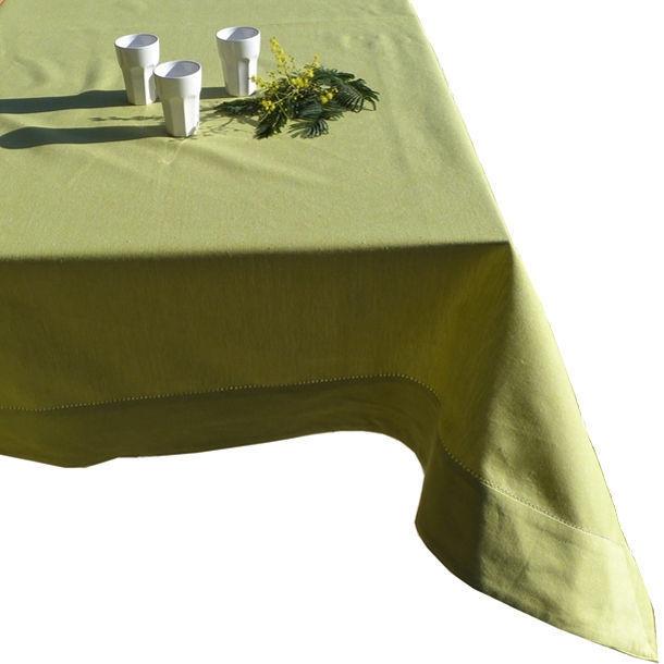 nappe carr e 150x150 cm coloris vert anis coton bio. Black Bedroom Furniture Sets. Home Design Ideas