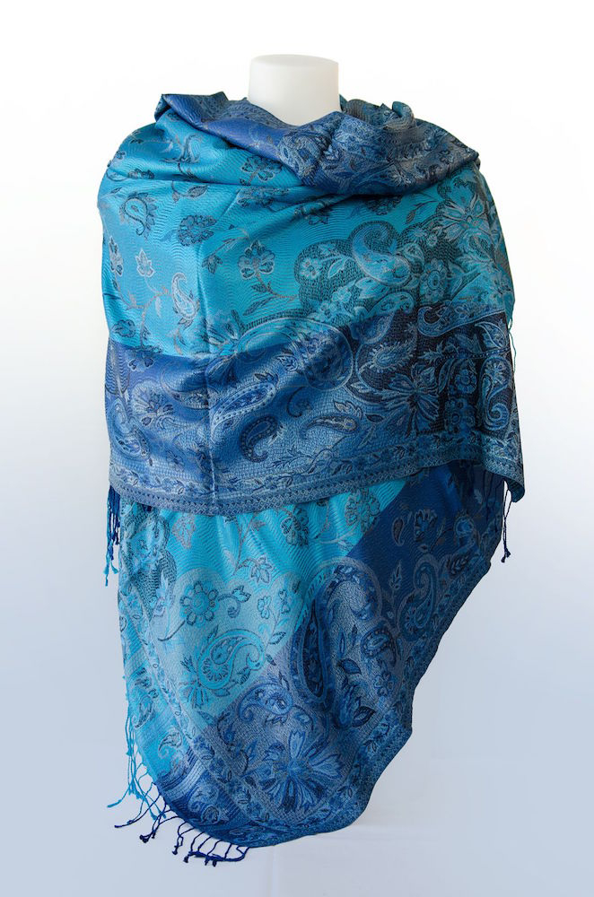 Étole en soie - Bleu roi bicolore