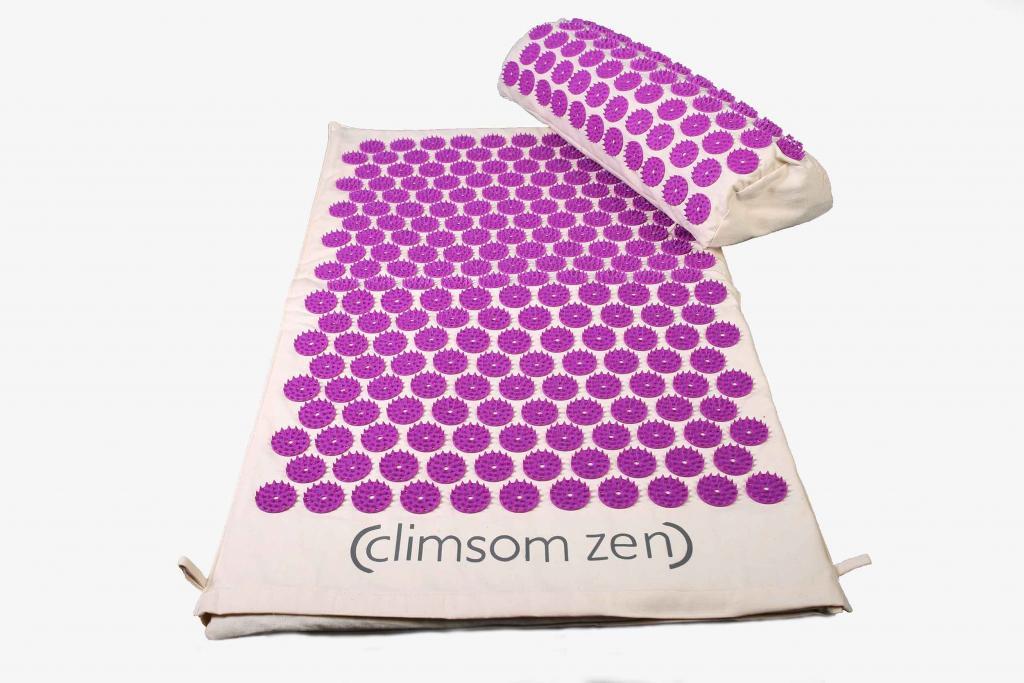 Tapis et coussin d'acupression moelleux bio Climsom Zen - Mauve