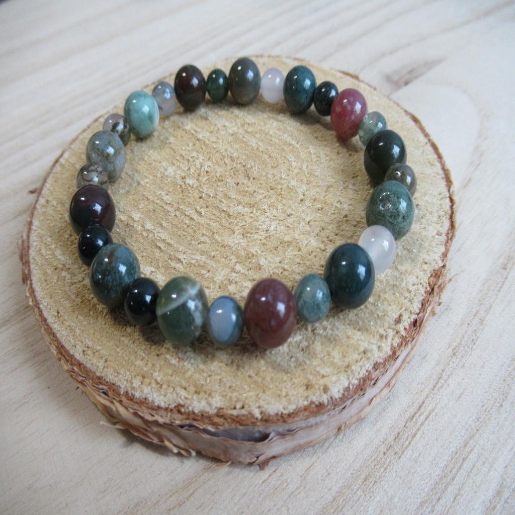 Bracelet en agate mousse et indienne