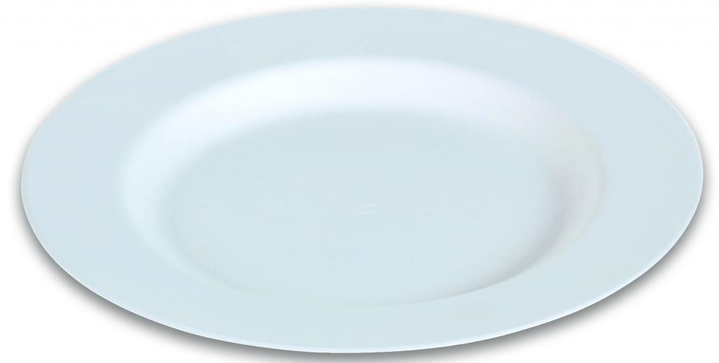 50 assiettes rondes, plates, blanches - 27 cm - en canne à sucre.