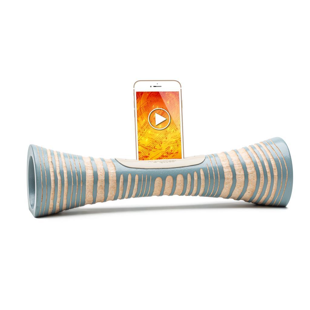 MANGOBEAT,Idee cadeau écologique,ENCEINTE en bois sans BLUETOOTH pour téléphone,Amplificateur de son naturel,station d'accueil et support Iphone
