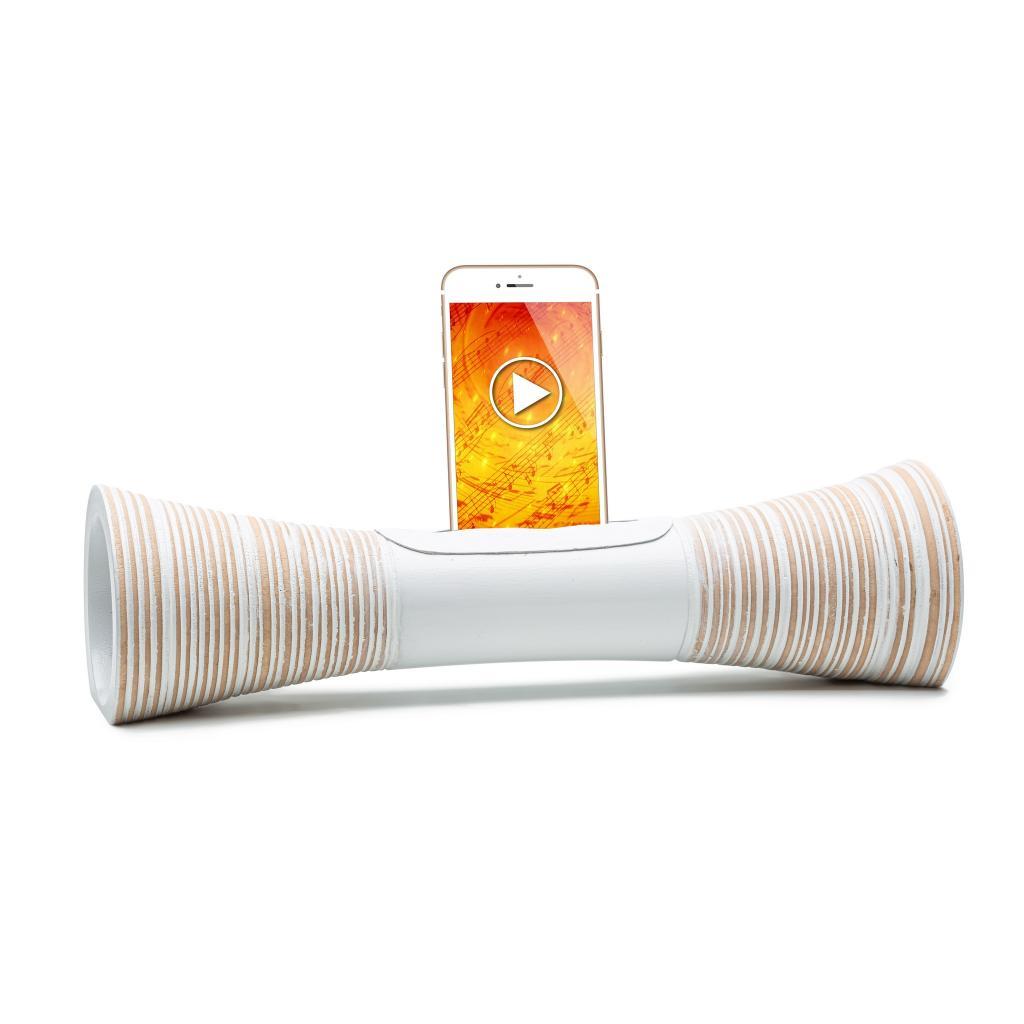 Mangobeat, ENCEINTE Iphone sans BLUETOOTH, Amplificateur naturel de son en bois,station d'accueil Iphone, cadeau st valentin et fête des pères