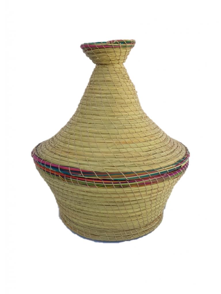 Boite de rangement forme tajine en fibre végétale (halfa).