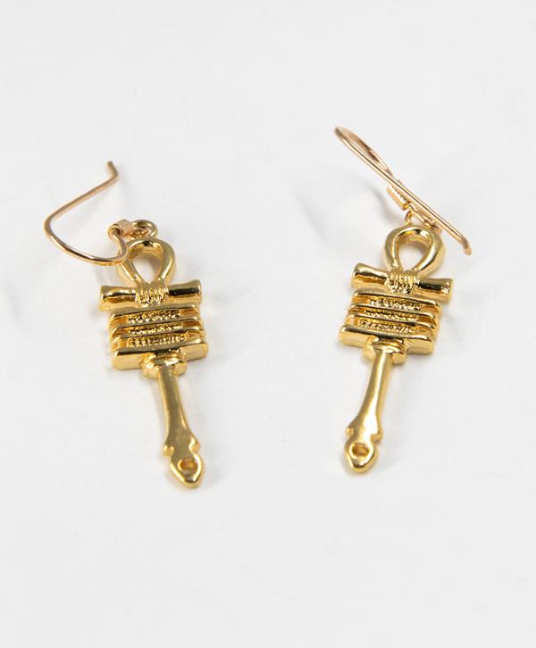 Boucles d'oreilles croix de vie ancienne plaqué or
