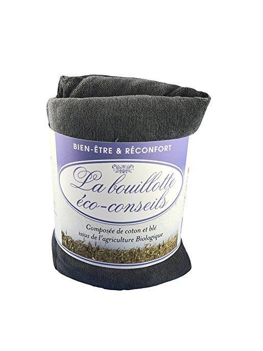 Eco-conseils® - Bouillotte micro-ondes en velours - 100% naturel - Utilisation polyvalente (Grise)