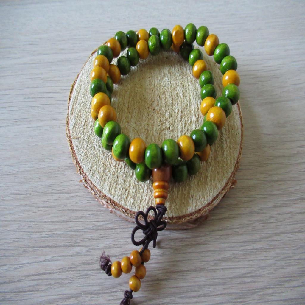 Bracelet double rang en perles de bois n4