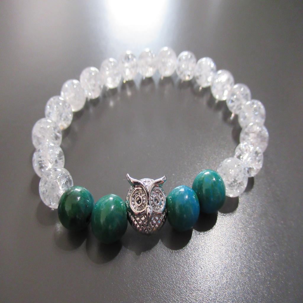 Bracelet cristal de roche et azurite