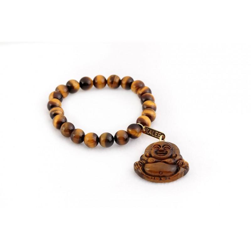 Bracelet œil de tigre perles naturelles semi précieuse et Bouddha