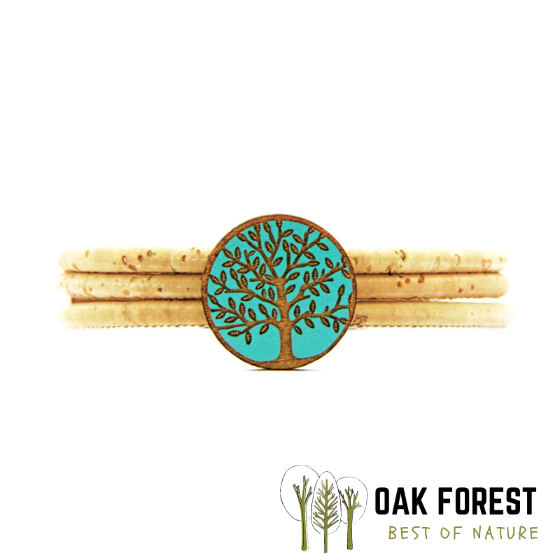 """Bracelet en liège """"Cercle arbre de vie"""" Turquoise"""