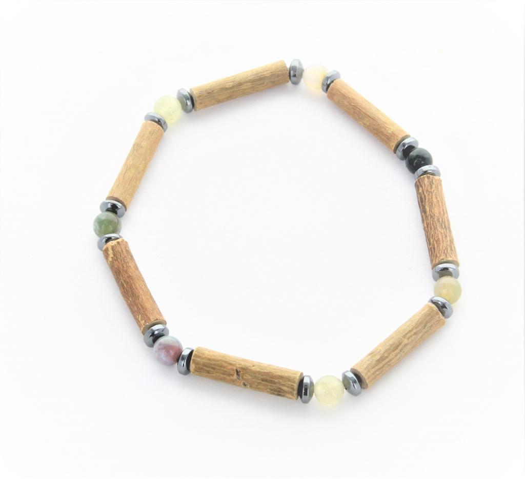 Bracelet de Noisetier   Agate Indienne   Hématite   Modèle 2  16cm