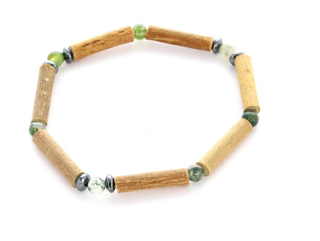 Bracelet de Noisetier | Agate Mousse | Hématite | Modèle 1 | 14cm