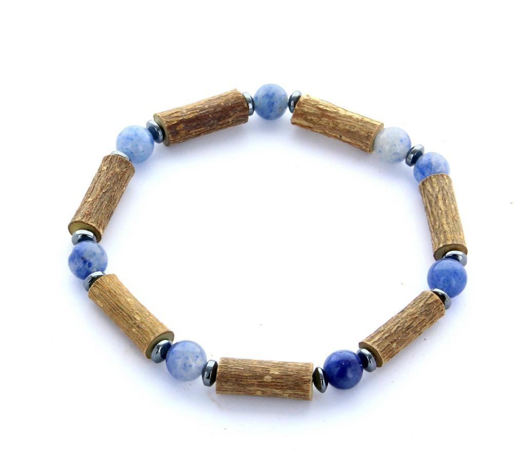 Bracelet de Noisetier   Aventurine bleue   Modèle 2   16CM