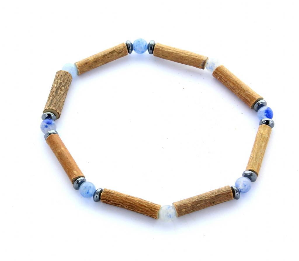 Bracelet de Noisetier   Aventurine bleue   Hématite   Modèle 1   17cm