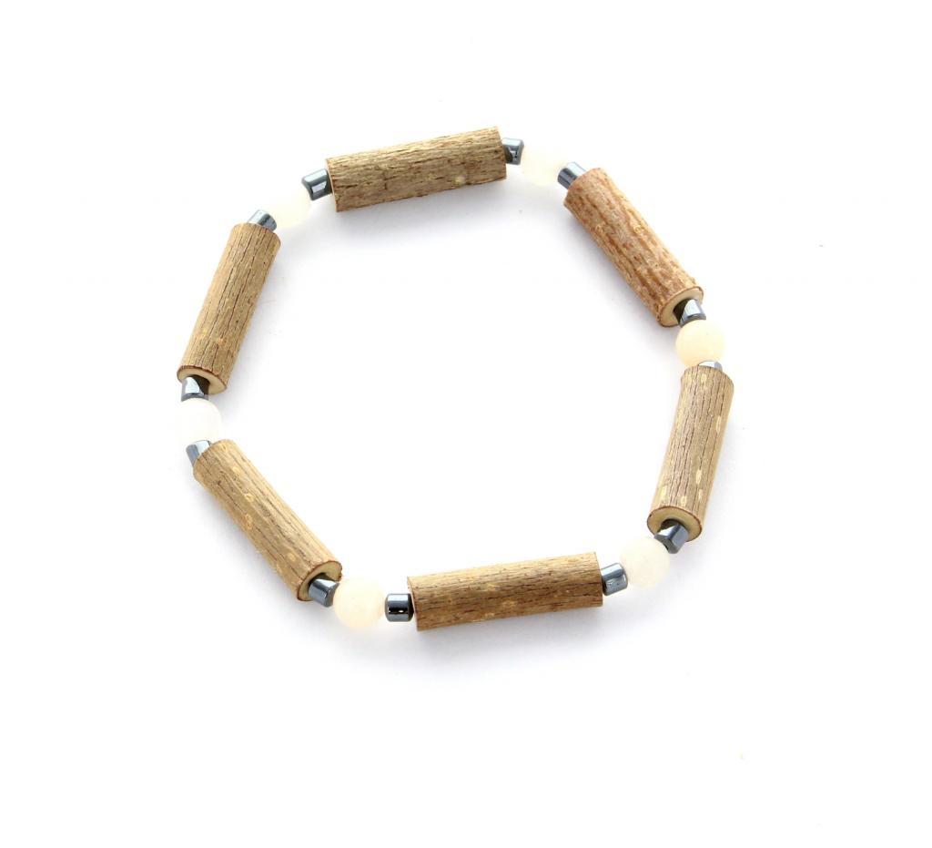 Bracelet de noisetier   Aventurine rose   hématite   modèle 1   14CM