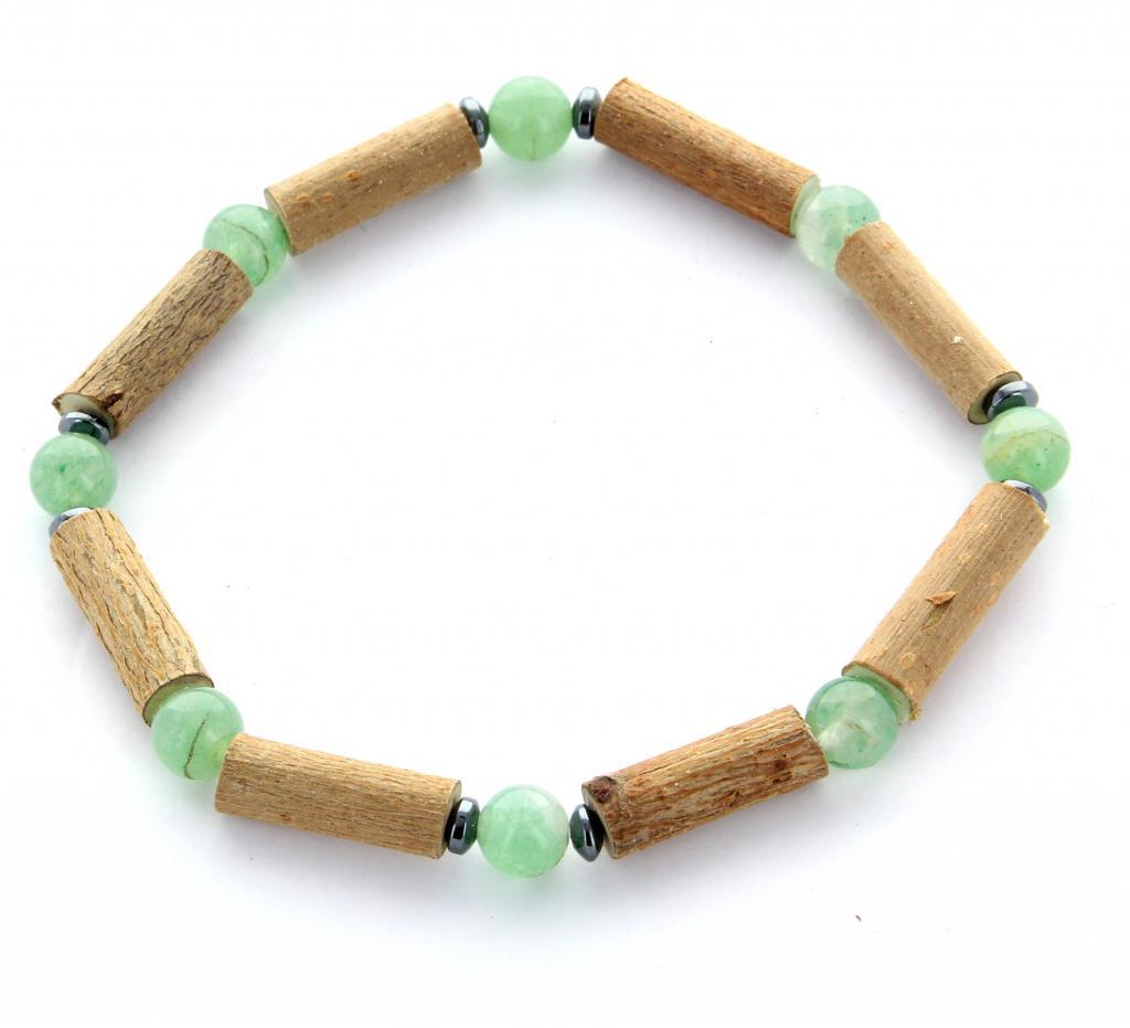 Bracelet de noisetier   Aventurine verte   hématite   modèle 2   18cm