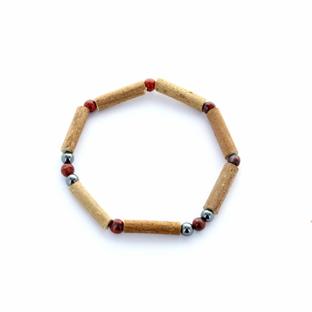 Bracelet en bois de noisetier, oeil de tigre et hématite