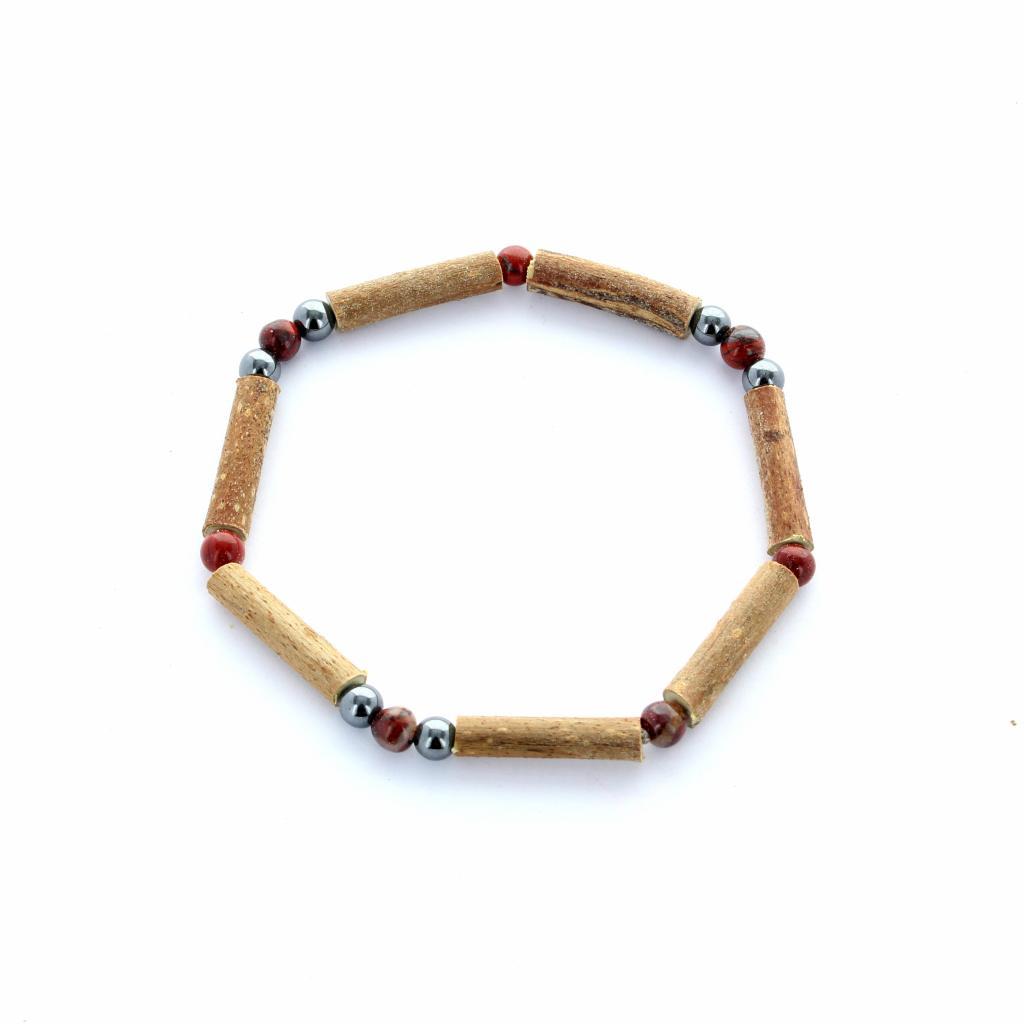 bracelet bois de noisetier et oeil de tigre