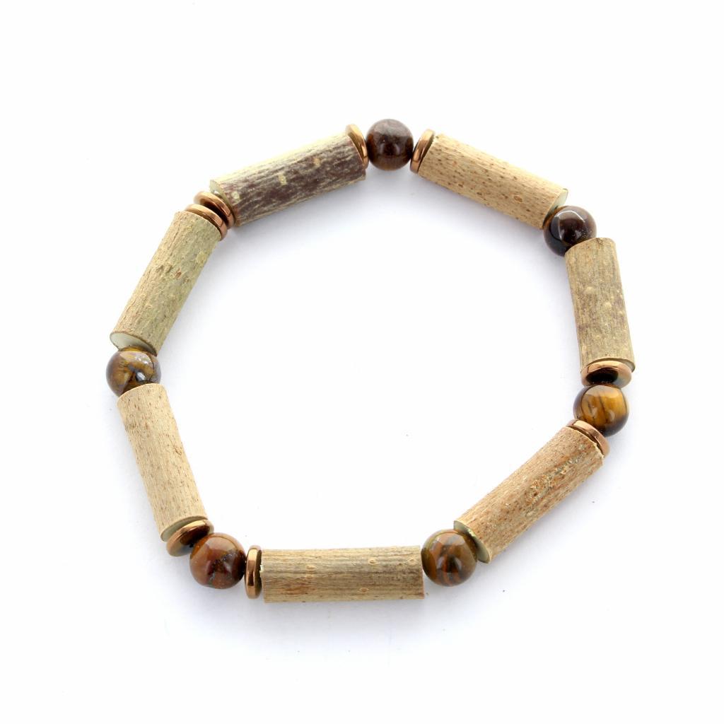 Bracelet Noisetier   Oeil de Tigre et Hématite