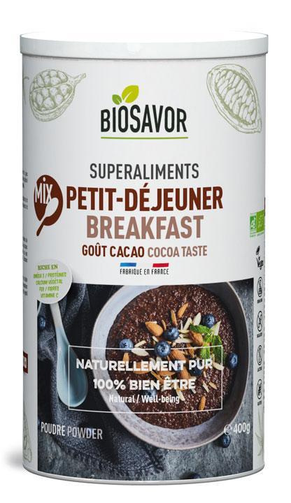 Mix Petit-déjeuner Bio - Saveur Cacao - Elaboré, préparé et conditionné en France