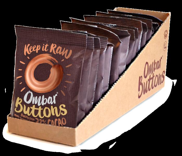 Lot de 13+2 Buttons Chocolat Cru 72% Cacao 25g Bio - Ombar