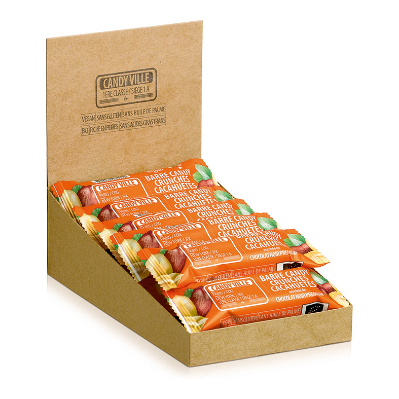 Lot de 15+3 Barres Candy Crunchies Cacahuètes 50g Bio - Candy Ville